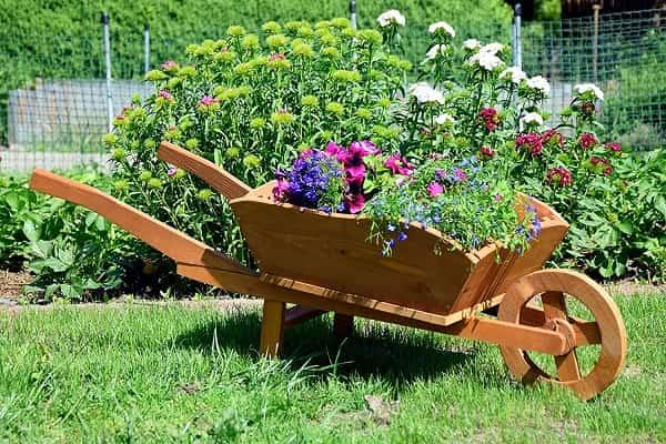 Carretilla de Madera para jardines
